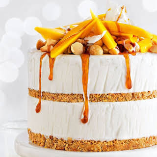 Mango, Coconut And Macadamia Ice Cream Layer Cake With Chilled Lime Caramel.