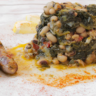 Black Eyed Beans Casserole with Sausage and Spinach.