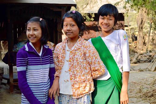 Myanmar-schoolgirls - Schoolgirls in small village along the river.