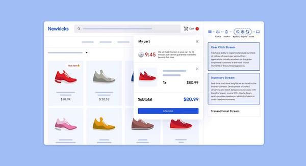 Captura de tela de um app de compras com duas linhas que mostram quatro calçados cada uma