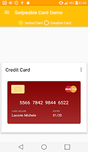 Swipeable Card Demo - náhled