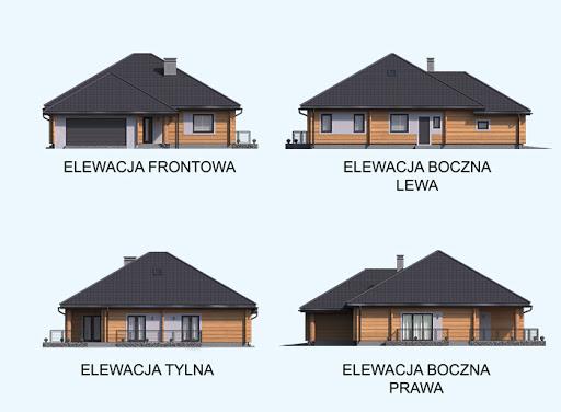 Alexandria projekt domu z bali drewnianych - Elewacje