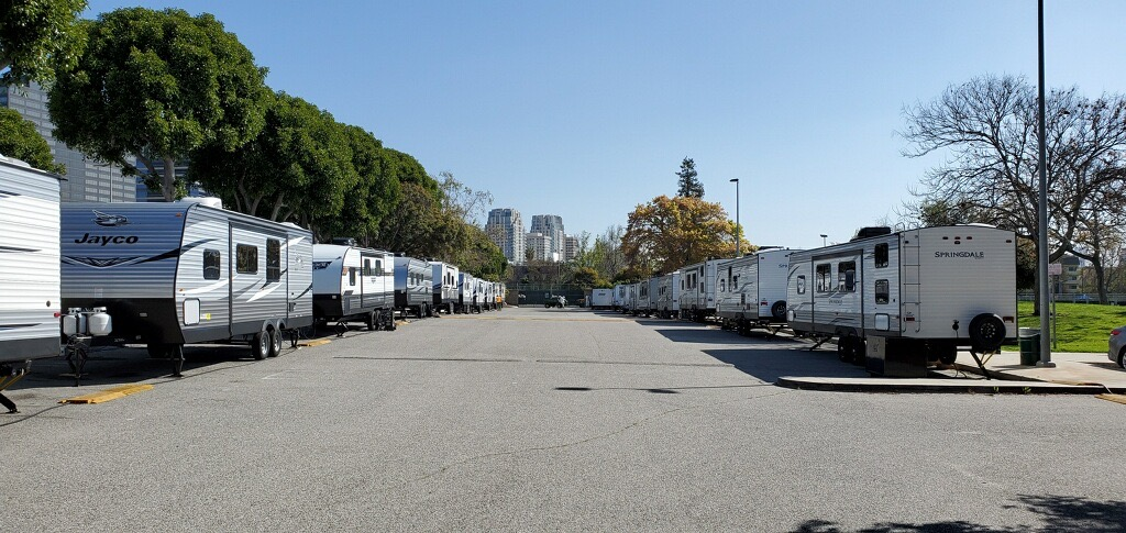 RV trailers line the street