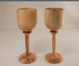 "Photo: Joe Stout 5"" x 12"" Pair of goblets [spalted maple]"