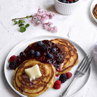 Brown Butter Cornmeal Pancakes with Lemon Berry Syrup Recipe