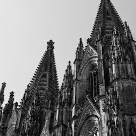 by Johannes Oehl - Buildings & Architecture Places of Worship ( tourist attraction, cologne, trachyte, monochrome, gothic, europe, christianity, arch, cloudless, black and white, lancet window,  )