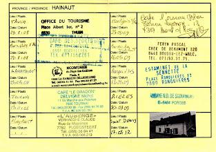 Photo: La carte du BPB, province du Hainaut dûment remplie