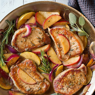 Pork Chops with Apples and Onions.