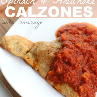 Spinach and Artichoke Calzones with Sausage