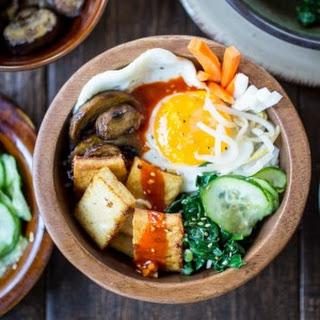 Vegetarian Korean Bibimbap Bowls.