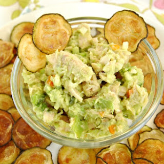 Avocado Tuna Salad with Baked Zucchini Chips