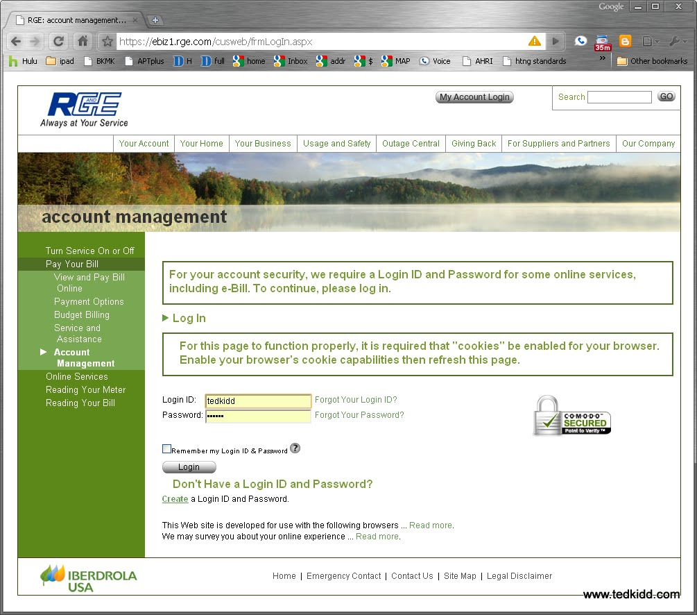 Photo: login.  If you don't have an online account you will need your account number to set one up.