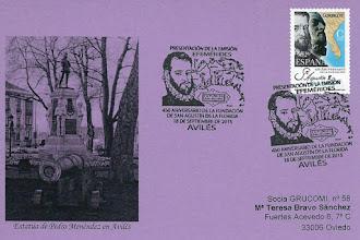 Photo: Tarjeta de presentación del matasellos dedicado al 450 aniversario de la fundación de San Agustín de la Florida