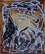 """Photo: """"Calypso"""", Lasure et acrylique sur toile. 45x54cm, vertical."""