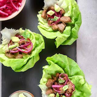 Cuban-Style Beef Lettuce Wraps.