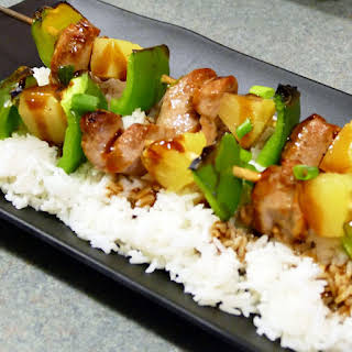 Hawaiian Pork & Pineapple Kabobs with Homemade Teriyaki Sauce.