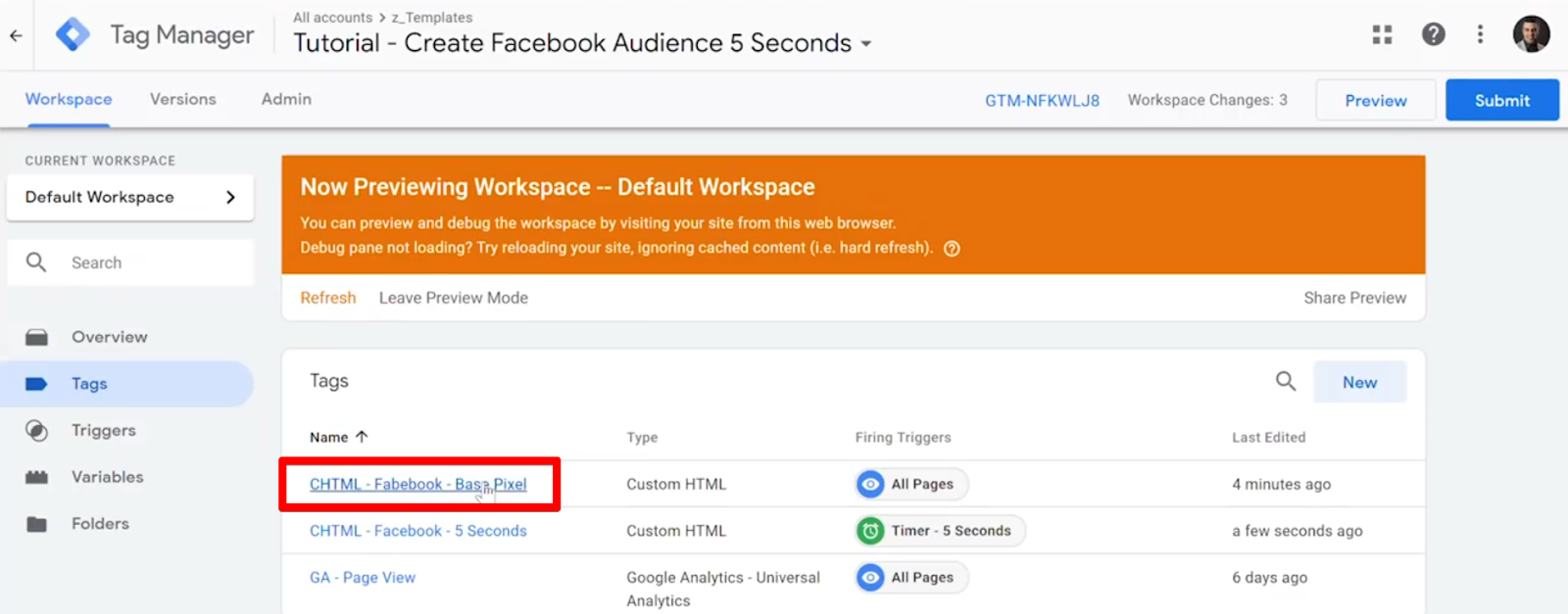 Selecting CHTML - Facebook - Base Pixel Tag from list of Tags in Google Tag Manager