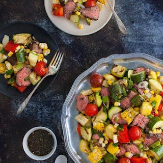 Marinated Skirt Steak and Grilled Vegetables Salad.