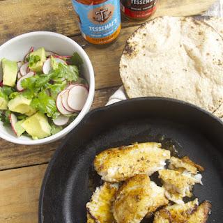 Seared Fish Tacos with Avocado Salsa.