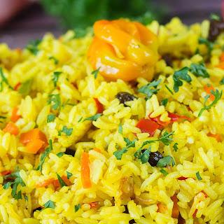 Yellow Saffron Rice - Caribbean Style.