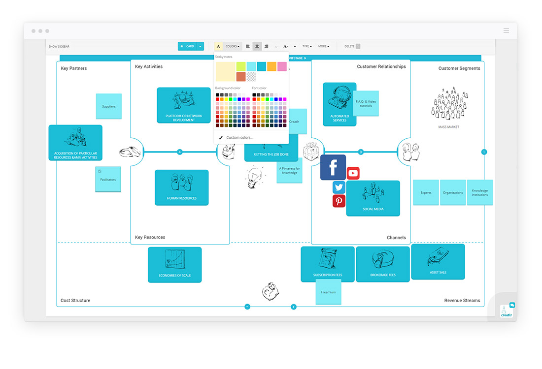 Creatlr Design Thinking Tool Screenshot
