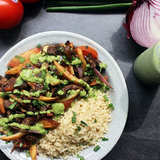 Peruvian Lomo Saltado with Cilantro Aji Sauce and Brown Rice