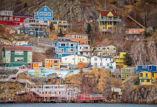 Brightly colored houses line the hillside of St. John's in Newfoundland, Canada.