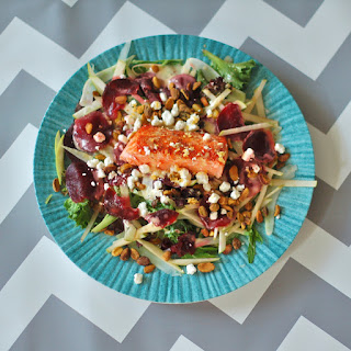 Salmon Waldorf Salad with Citrus Yogurt Vinaigrette.