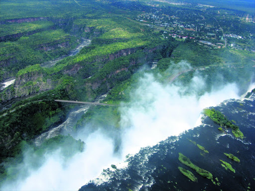 An aerial view of  Victoria    Falls