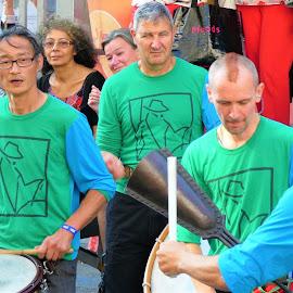 The street musicians in Brussels by Svetlana Saenkova - People Musicians & Entertainers ( musical instrument, green shirt, festival, brussels, belgium, musician )
