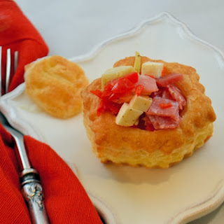 Chopped Antipasto Salad in Puff Pastry Cups.