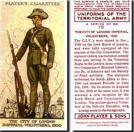 cigarette card for territorial army