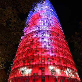 Torre Agbar by Bim Bom - City,  Street & Park  Street Scenes ( red, skyscraper, blue, night, torre agbar, architecture, barcelona, city )