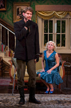 "Photo: Daniel Bielinski* as ""Richard"" and Amy Rutberg* as ""Sylvia"" in APAC's production of Sandy Rustin's ""The Cottage"" directed by Adam Dannheisser. Photo by Michael R. Dekker"