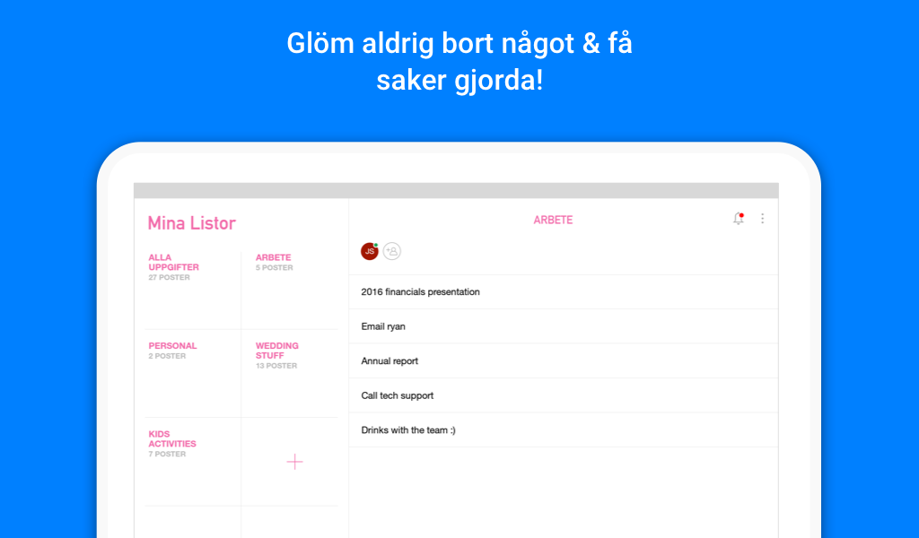 Any.do: Aktivitetslista, Kalender & Påminnelser– skärmdump