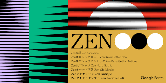 A featured image in the Zen font family in light purple, green, red, and light brown, with black shapes and lines, and the name of the Zen font