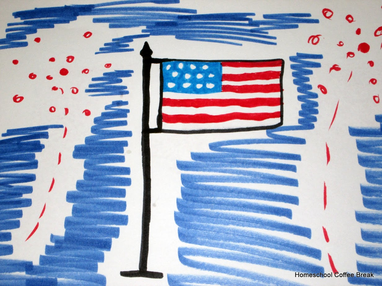 America! on the Virtual Refrigerator, an art link-up co-hosted by Homeschool Coffee Break @ kympossibleblog.blogspot.com #art #VirtualFridge #bloggingthroughJuly #summerchallenge