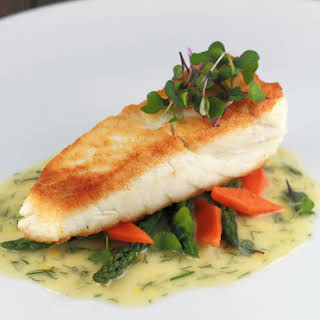 Pan Seared Halibut With Lemon Dill Sauce.