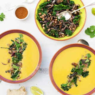 Sweet Potato Soup with Mushroom, Kale & Bean Topping [vegan] [gluten free]