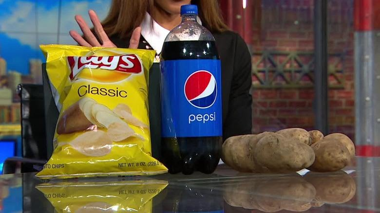 Pepsi and Lays products alongside the infamous potatoes. ( source: via CNN.com )