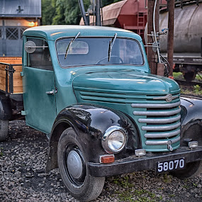 by Marco Bertamé - Transportation Automobiles ( number plate, 0, 7, wood, pickup, 5, green, number, brown, 8 )