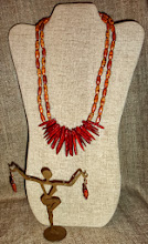 Photo: <BEREHYNYA> {Great Goddess Protectress} unique one-of-a-kind statement jewellery by Luba Bilash ART & ADORNMENT  # 124 SEA ANEMONE/МОРСЬКА АНЕМОНА - coral, painted wooden beads, copper, rose gold vermeil $80/set * Available @ Oseredok Boutique, Winnipeg SOLD/ПРОДАНИЙ