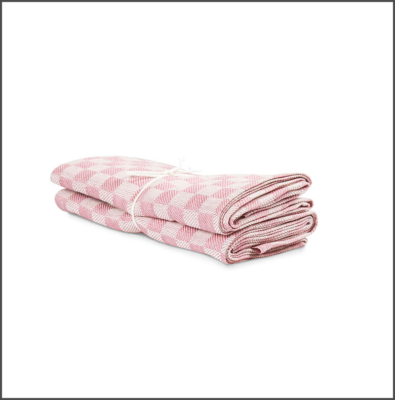 Handduk Schack rosa-vit