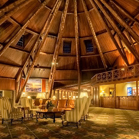 Come stay for a While by Hamish Carpenter - Buildings & Architecture Office Buildings & Hotels ( mackinac island, checkin, michigan, wood, lobby, interiors, relaxation, architecture, hotel, front desk, wood beams, mission point resort )