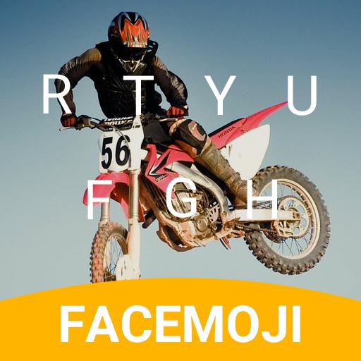 Motorbike Race Emoji Keyboard Theme for musically