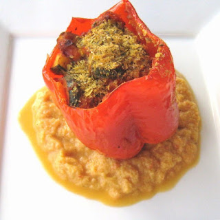 Stuffed Red Peppers With Zucchini Puree
