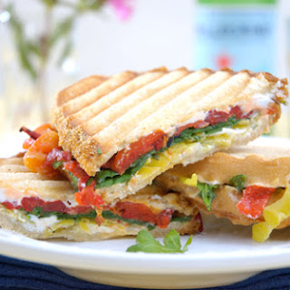 Roasted Red Pepper, Goat Cheese and Baby Arugula Panini.