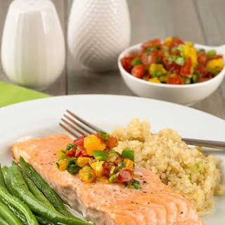 Roasted Salmon with Fresh Orange Salsa.