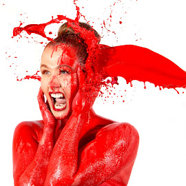 Splash by Alan Payne - People Portraits of Women ( studio, red, art, sexy, wet, paint, model, abstract, girl, female, splash, fashion )