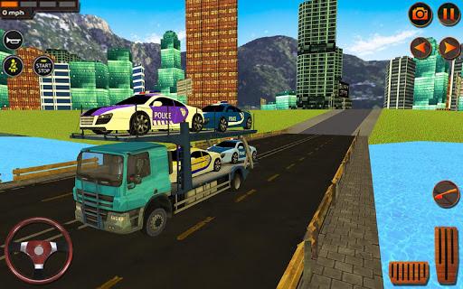 City Police Car Transporter Truck: Trailer Driving apktram screenshots 12